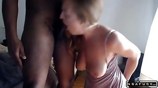 Hotty Blond Mom With Big Melons Fulfills Her Interracial Needs