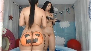 Naked girls go wild online on Halloween