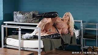 Young soldier fucks busty officer Tommie Jo