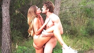 Extra-hot blonde babe Honour May gets banged in the forest
