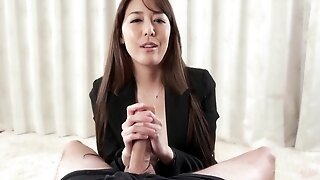 Nipponese lustful MILF hot handjob sex clip