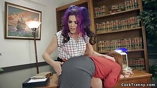 Shemale fucks female colleague in office