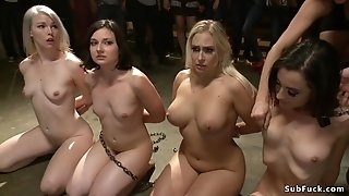 Naughty slaves rough made love in public