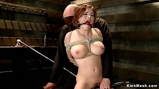 Tied on the floor big-titted babe vibed