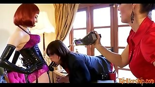 Sissy crossdresser punished by horny mistresses