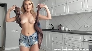 Come Have Fun In The Kitchen... blonde girl next door with natural tits