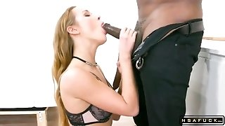 Alluring Babe In Stockings Takes On A Gang Of Big Black Cocks