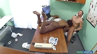 Busty ebony with glasses pleasuring her horny doctor