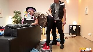 Lili Parker got shaved pussy railed by cop